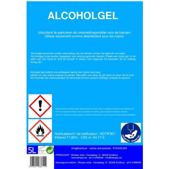 Alcoholgel 5 liter